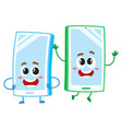 cartoon mobile phone characters one arms akimbo vector image
