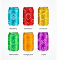 realistic steel color can juice concept set vector image