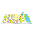 The route on the map of the city vector image