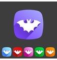 Bat flat halloween icon badge vector image
