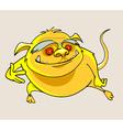 cartoon yellow smiling beast vector image vector image