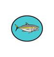 Yellowtail Kingfish Oval Cartoon vector image