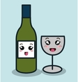 cartoon bottle wineglass with facial expression vector image