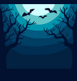 dark spooky landscape with bright moon and bats vector image