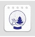 Doodle Snow Ball icon vector image