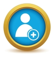 Gold add user icon vector image