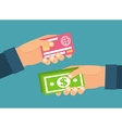 Hands holding money plastic card Exchange transfer vector image