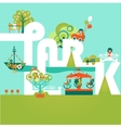 Natural landscape with Word Park in the flat style vector image