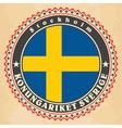Vintage label cards of Sweden flag vector image