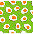 Easter egg pattern yellow eggs on green delicious vector image