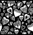 love pattern with hand drawn doodle hearts vector image