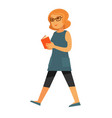 happy woman walking with book vector image