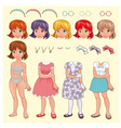 Female avatar with different dresses and items vector image