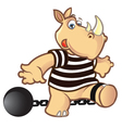 Rhino in Jail vector image vector image