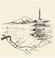 Japan Fuji mountain pagoda and cherry blossoms vector image