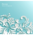 Abstract Ocean Background with 3d Floral Pattern vector image
