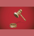 isometric wooden gavel auction concept vector image