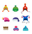 pompons winter hats set vector image