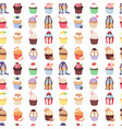 set of cute cupcakes and muffins seamless vector image