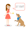 young woman playing with a dog vector image