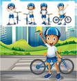 Boy riding bike in park vector image