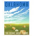 oklahoma united states retro travel poster vector image vector image