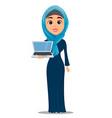 arabic woman holding laptop cute businesswoman vector image