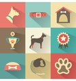Retro dog icons set for web mobile vector image
