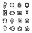 Clock Black Icons Set vector image vector image