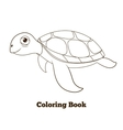 Coloring book turtle sea animal vector image