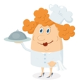 Cook woman with tray vector image