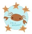cute cartoon crab and stars set vector image