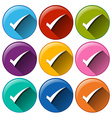 Rounded buttons with check marks vector image