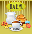 collection tea with milk pot vector image