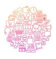 shopping line icon circle design vector image
