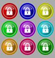 Lock sign icon Locker symbol Symbol on nine round vector image