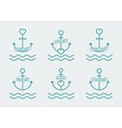 anchor and heart set vector image