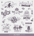 Halloween type design set with hand drawn elements vector image