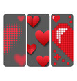 red heart sharp card pink color card vector image