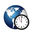 world planet with watch icon vector image