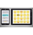 Emoticon set with realistic Phone and Tablet PC vector image