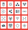 set of 16 robotics icons includes algorithm vector image