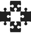black white puzzle pieces - jigsaw - vector image