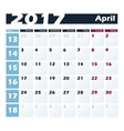 Calendar 2017 April design template Week vector image