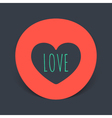 circular realistic sticker with the heart inside vector image