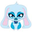 Cute blue bunny vector image