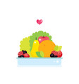 fresh vegetables fruits and greens plate isolated vector image