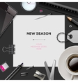 New season template with office supplies vector image