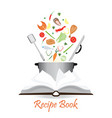 open recipe book isolated on white vector image