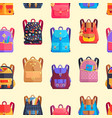 seamless pattern rucksacks for girls or boy vector image